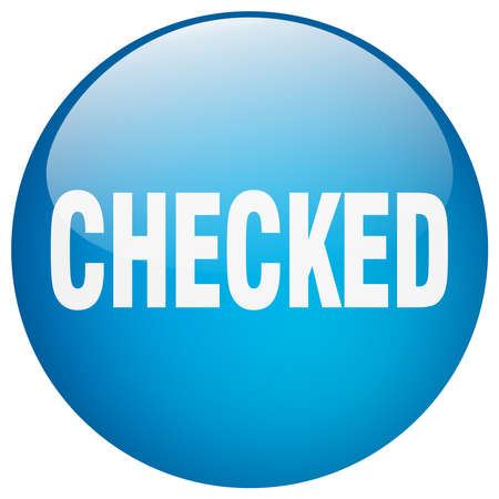 checked: checked blue round gel isolated push button