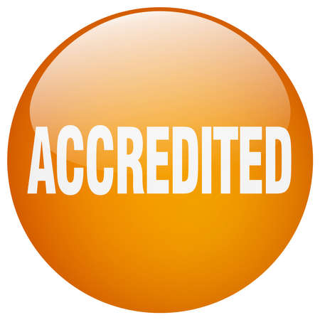 accredited: accredited orange round gel isolated push button