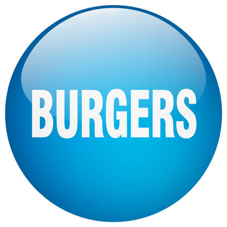 gel: burgers blue round gel isolated push button