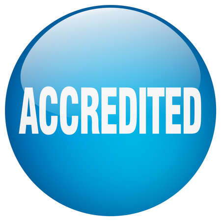 accredited: accredited blue round gel isolated push button