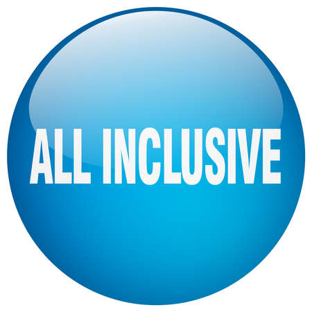 inclusive: all inclusive blue round gel isolated push button Illustration