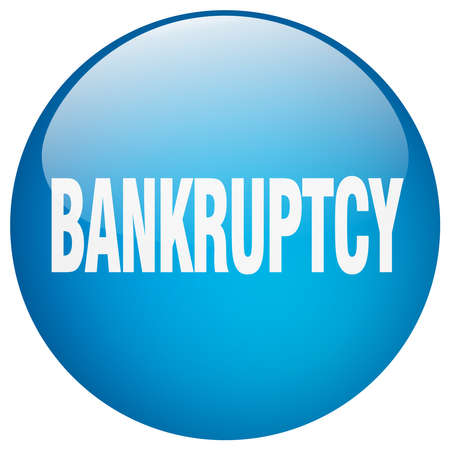 bankruptcy: bankruptcy blue round gel isolated push button Illustration