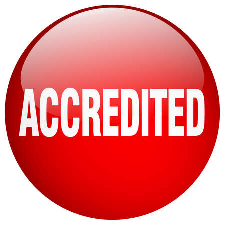 accredited: accredited red round gel isolated push button