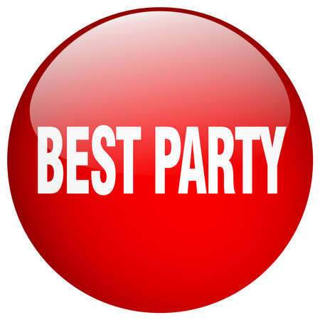 best party: best party red round gel isolated push button