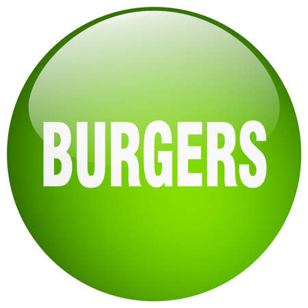 gel: burgers green round gel isolated push button Illustration