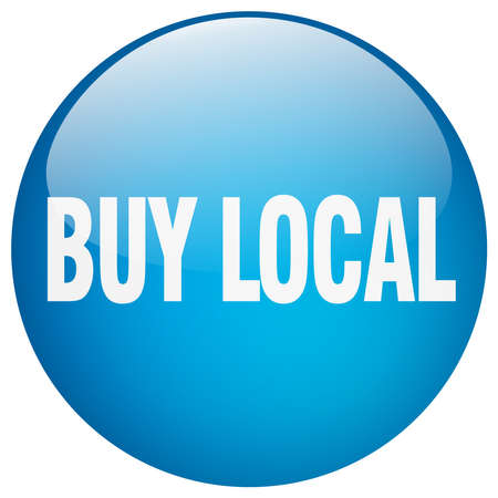 buy local: buy local blue round gel isolated push button