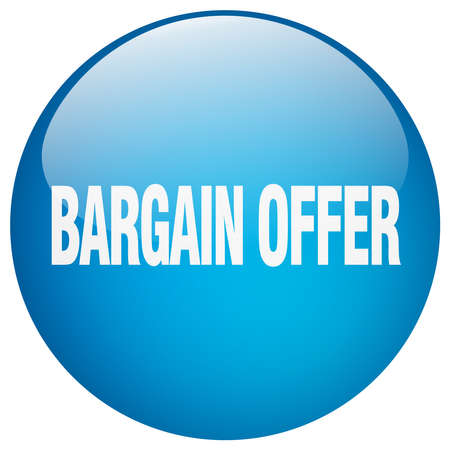bargains: bargain offer blue round gel isolated push button
