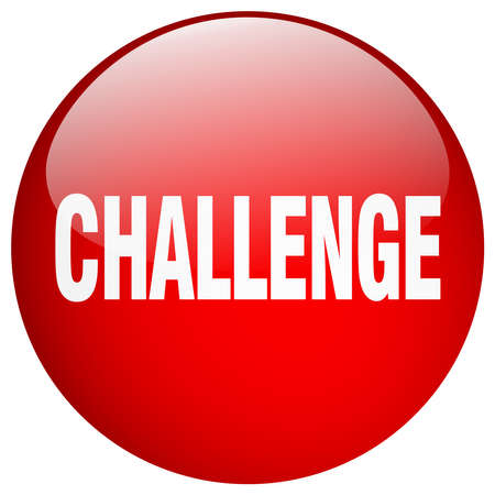 challenge red round gel isolated push button