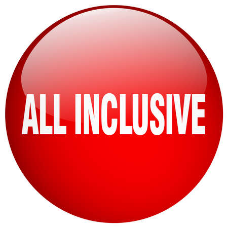 inclusive: all inclusive red round gel isolated push button
