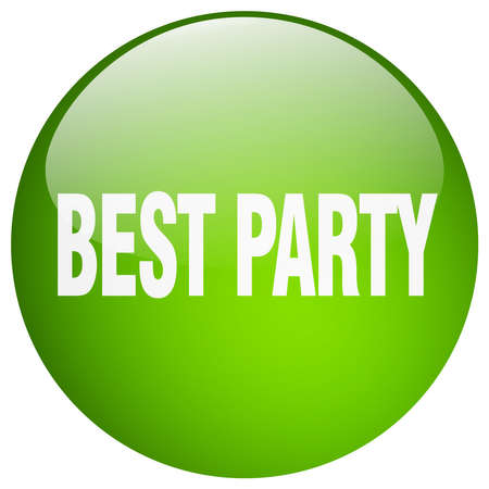 best party: best party green round gel isolated push button