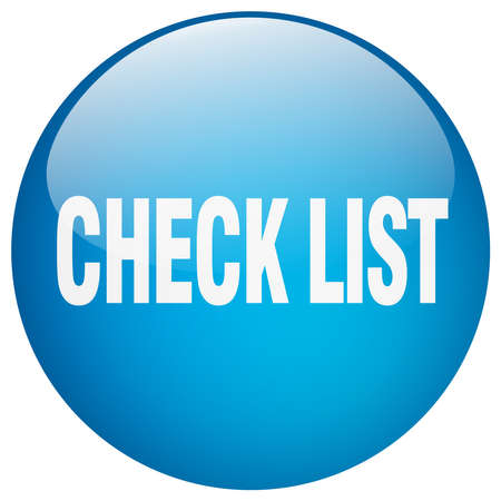 check list: check list blue round gel isolated push button
