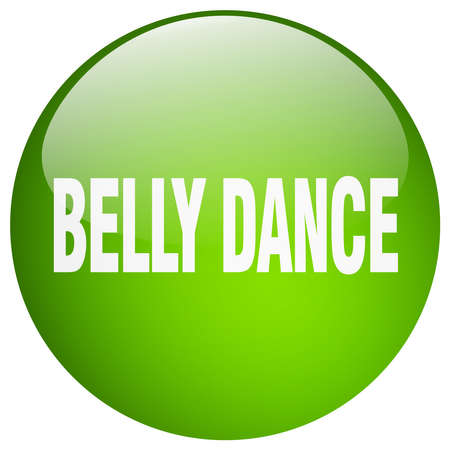 belly button: belly dance green round gel isolated push button
