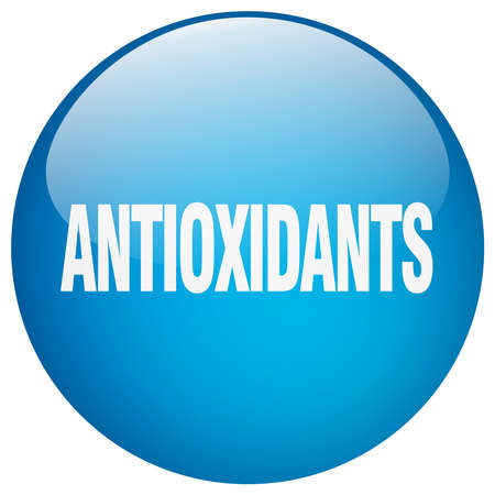 antioxidants: antioxidants blue round gel isolated push button