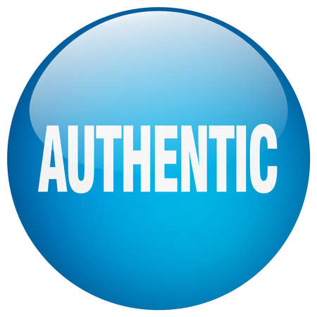 authentic: authentic blue round gel isolated push button
