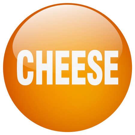 push button: cheese orange round gel isolated push button Illustration