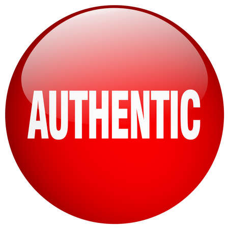 authentic: authentic red round gel isolated push button