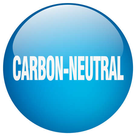 co2 neutral: carbon-neutral blue round gel isolated push button
