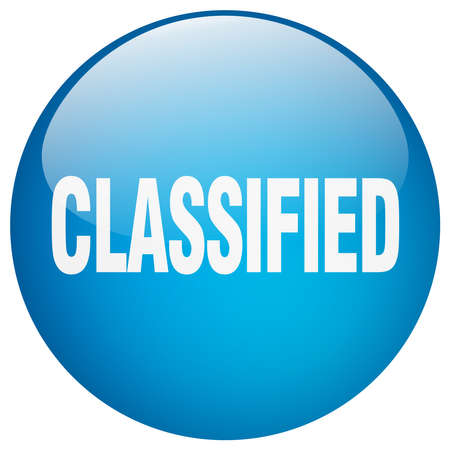 classified: classified blue round gel isolated push button