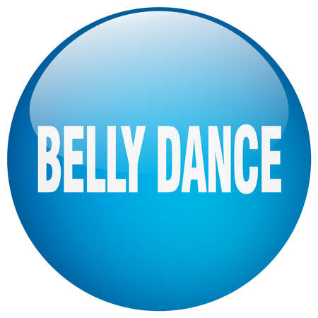 belly button: belly dance blue round gel isolated push button Illustration