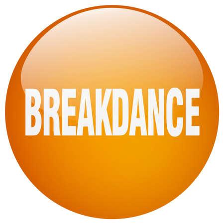 breakdance: breakdance orange round gel isolated push button