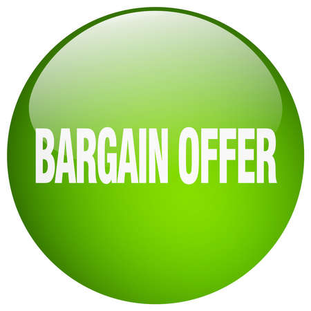 bargains: bargain offer green round gel isolated push button Illustration