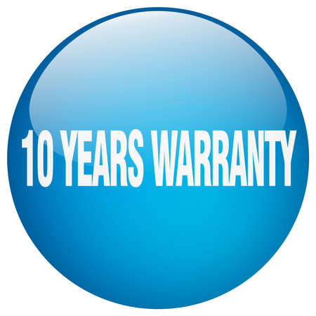 10 years: 10 years warranty blue round gel isolated push button