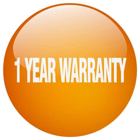 one year warranty: 1 year warranty orange round gel isolated push button