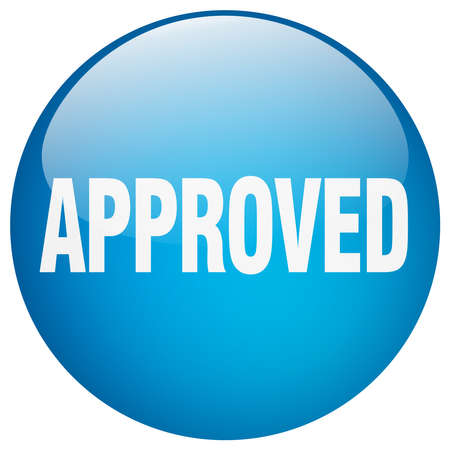 approved: approved blue round gel isolated push button