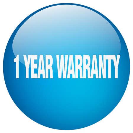 1 year warranty: 1 year warranty blue round gel isolated push button