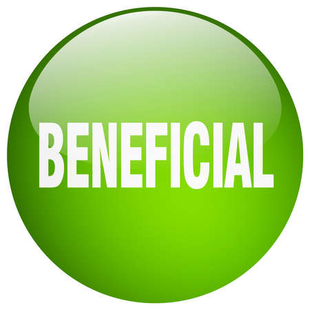 beneficial: beneficial green round gel isolated push button Illustration