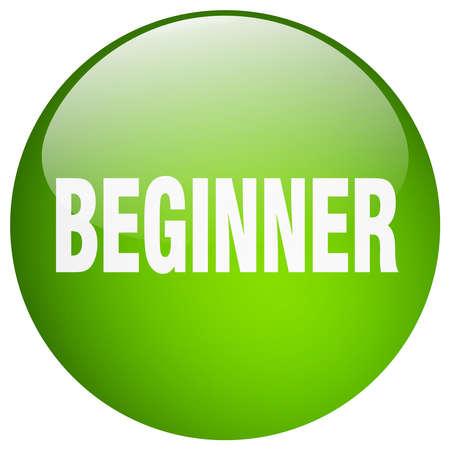 beginner: beginner green round gel isolated push button