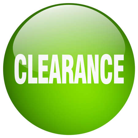 clearance: clearance green round gel isolated push button