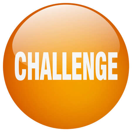 challenge orange round gel isolated push button 向量圖像