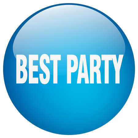 best party: best party blue round gel isolated push button
