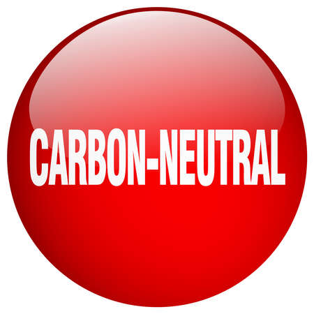 co2 neutral: carbon-neutral red round gel isolated push button Illustration