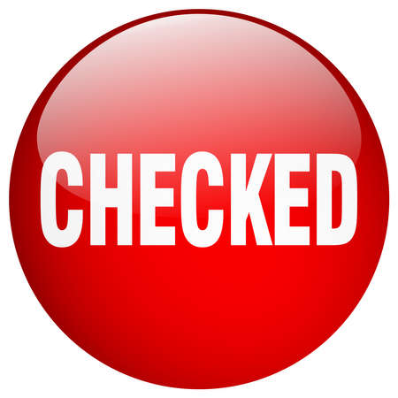checked: checked red round gel isolated push button