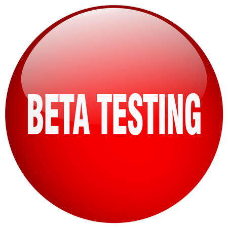 tester: beta testing red round gel isolated push button Illustration