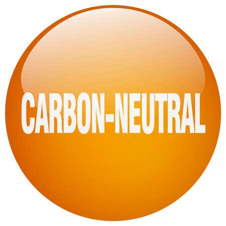 co2 neutral: carbon-neutral orange round gel isolated push button