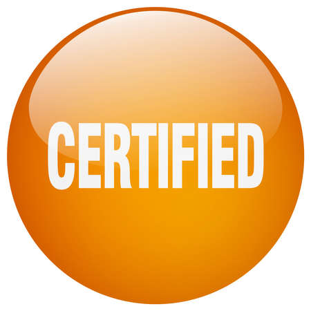 certify: certified orange round gel isolated push button