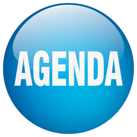 agenda blue round gel isolated push button