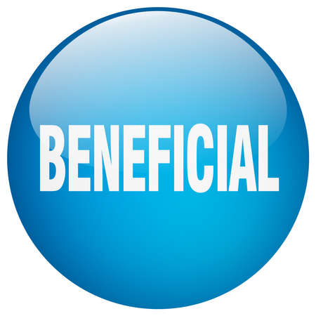beneficial: beneficial blue round gel isolated push button Illustration