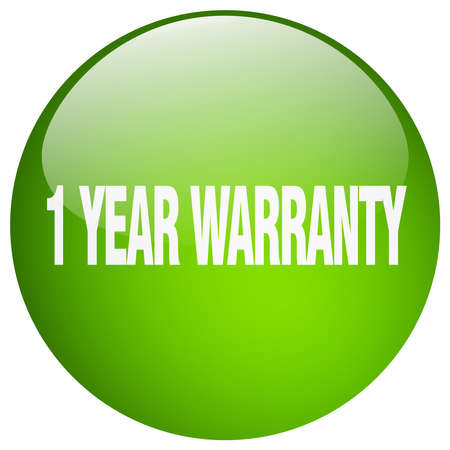 1 year warranty: 1 year warranty green round gel isolated push button
