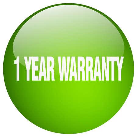 1 year: 1 year warranty green round gel isolated push button