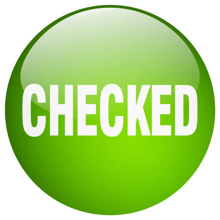 checked: checked green round gel isolated push button
