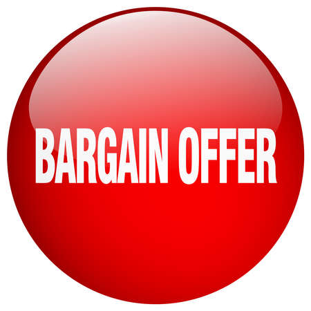 bargaining: bargain offer red round gel isolated push button Illustration