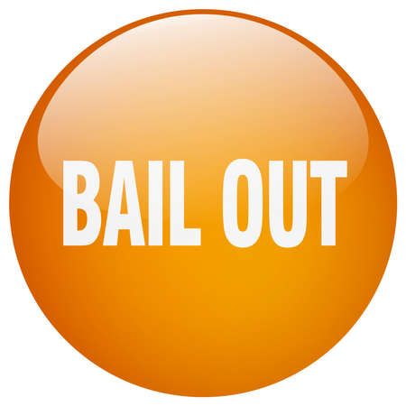 bail: bail out orange round gel isolated push button