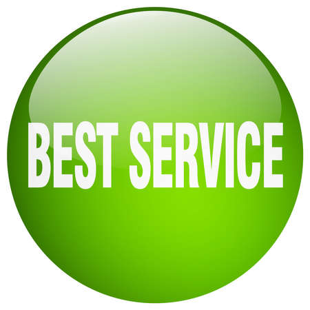 best service: best service green round gel isolated push button Illustration