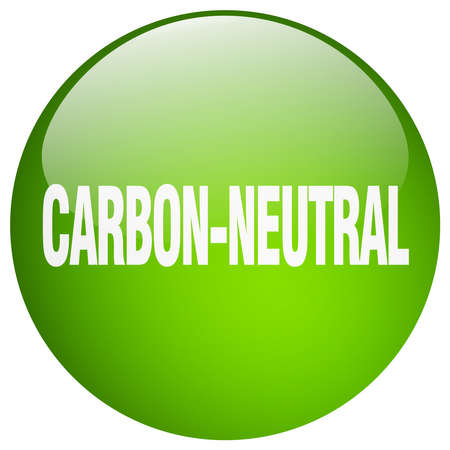 co2 neutral: carbon-neutral green round gel isolated push button
