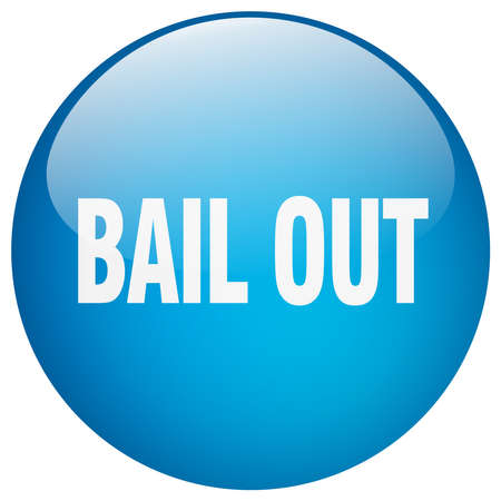 bail: bail out blue round gel isolated push button Illustration