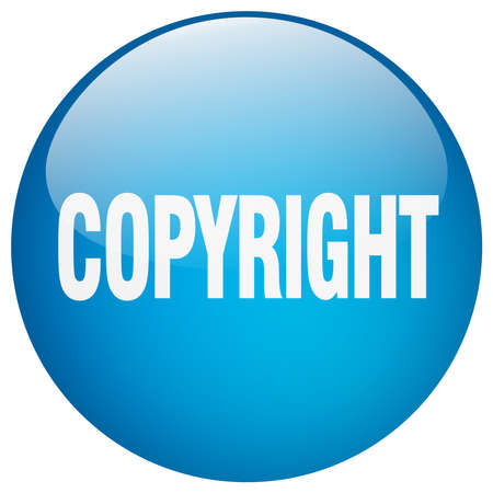 copyrighted: copyright blue round gel isolated push button